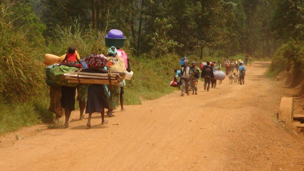 Des déplacés fuyant les violences intercommunautaires dans le sud Lubero. Photo DeoSIKUGADHOP